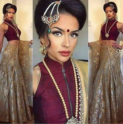UK Stock: Indian Bollywood, Designer,Bridal Red & Cream Lehenga, Chanya Choli