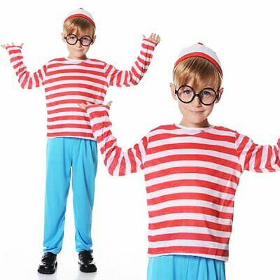 Child Where's Waldo Wally Cartoon Kids Boys Book Week Outfit Fancy Dress Costume