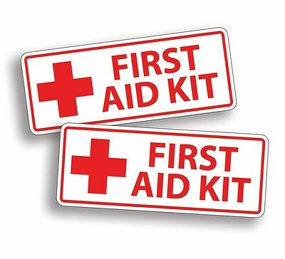 White Red Cross First Aid Kit Emergency Sticker Decal Adhesive Health Safety DIY