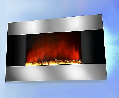 "36"" Electric Wall Mount Fireplace Heater GV-510DPB with Remote Control and Backl"
