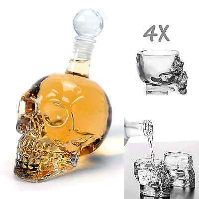 1X 1000ml Crystal Skull Head Bottle + 4X 3D Skull Glasses Cup Vodka Whiskey Bar