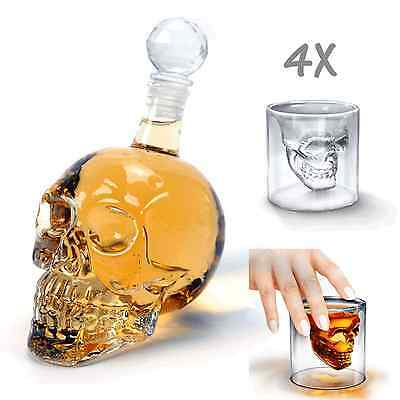 1X 1000ml Crystal Skull Head Bottle + 4X 3D Skull Tea Glasses Cup Vodka Bar Drin