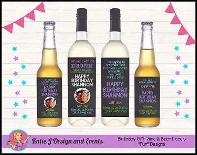 ** PERSONALISED BIRTHDAY WINE BOTTLE LABELS 18th 21st 30 40 50 GIFTS PRESENTS **