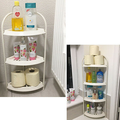 Corner Shelving caddy Unit Kitchen Bathroom Corner Plastic Cabinet Rack