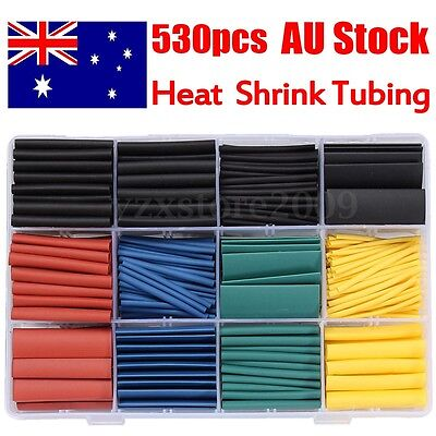 530Pcs Heat Shrink Tubing Tube Assortment Wire Cable Insulation Sleeving Wrap AU