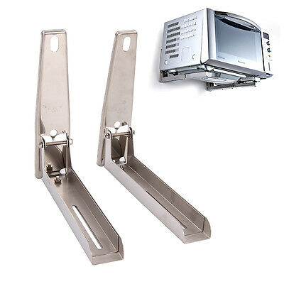 2 x Sliver Steel Microwave Wall Mounting Holder Brackets With Extendable Arms