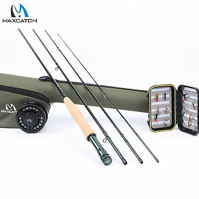 5WT Fly Fishing Combo 9FT Medium-fast Fly Rod Graphite Reel Line Triangle Tube