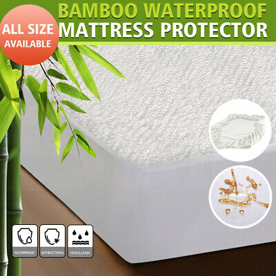 Dreamz Mattress Protector Bamboo Fabric Waterproof Cover Single Double King Size