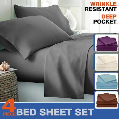 1000TC Ultra Soft Microfiber 4PC SHEET SET-King & Queen Sizes