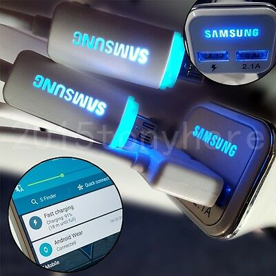 OEM LED Samsung Galaxy Note 4/5 S6 Edge+/S7 Edge Fast Charging Rapid Car Charger