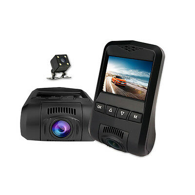 "WIFI APP HD 1080P  2.4"" Screen G-sensor 170° WDR Dual Lens Dash Cams+Back Camera"