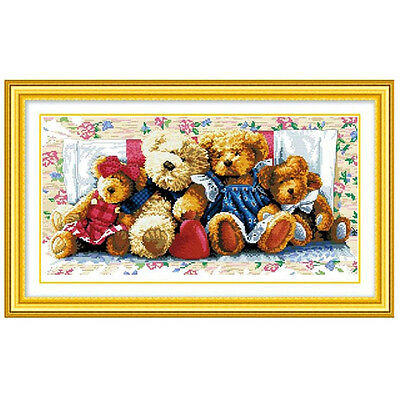 Chinese DIY Sewing Counted Cross Stitch Embroidery Kit Set Bear Family SP
