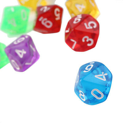 10pcs/Set Games Multi Sides Dice D10 Gaming Dices Game Playing 5 Color J#~