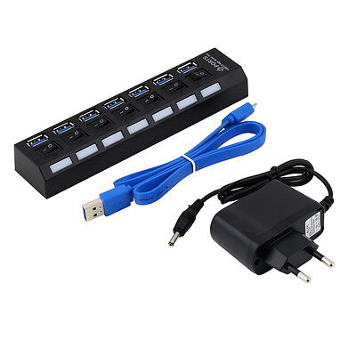 7Ports USB 3.0 Hub with On/Off Switch+ EU Plug AC Power Adapter for PC Laptop J#