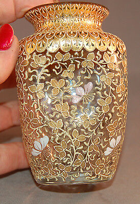 OUTSTANDING All Over Enameled Gilt and Flowers Vintage Vase! Moser?