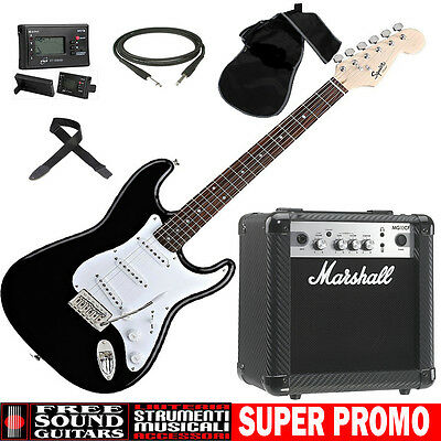 FENDER Squier Stratocaster Chitarra Elettrica + Amplificatore MARSHALL MG10CF