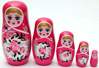 New Set Of 5 Wooden Doll Nesting Russian Babushka Pink Matryoshka Toys Xmas Gift