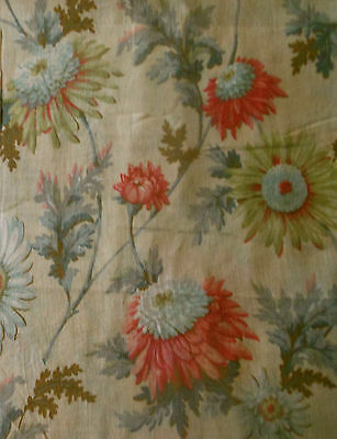 Antique Edwardian Botanical Daisy Mum Floral Cotton Fabric ~Coral Pink Green