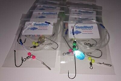 Summer/Autumn Sea Fishing Mixed Rigs x 10 - good for all species.