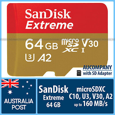 SanDisk Extreme 64 GB 64G Micro SD SDXC Class 10 4K V30 Ultra HD 90MB/s Go Pro 5