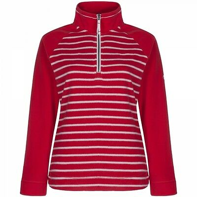 Craghoppers Womens Ladies Atalia Half Zip Fleece Jumper Firecracker Red Stripe