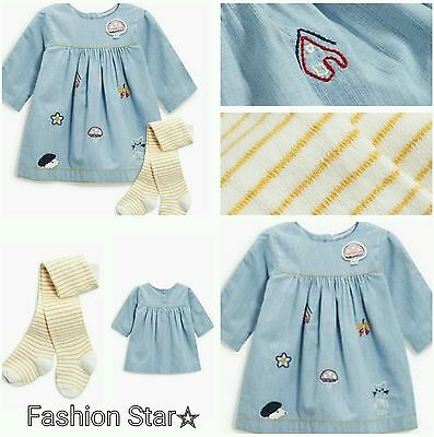 New*bnwt Next Baby Girl Newborn 0-1 0-3-6-9 Month Embroidered Dress & Tights Set
