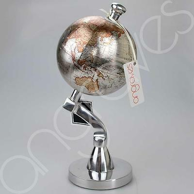 Silver Brown Traditional Ornamental Spinning World Globe on Stand