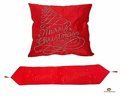 Merry Christmas Sparkle Design Red Cushion Cover And matching Runner
