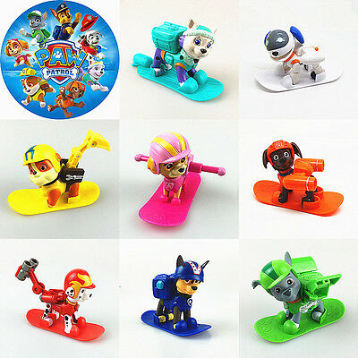 8pcs Fun Paw Patrol Dog Figures Backpack Projectile+Snowboard Kids Toy Xmas Gift