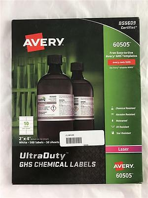 """NEW 500 Genuine Avery 60505 Ultra Duty GHS Chemical Labels 2"""" x 4"""" Laser"""