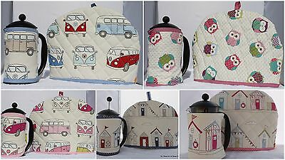 Beach Huts VW Campervan Style Owls Handmade Tea Cosy and Cafetiere Cosy Cozy