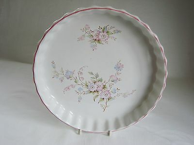 "Ashley Ceramics Flan Dish 23cm / 9"" with pink flowers"