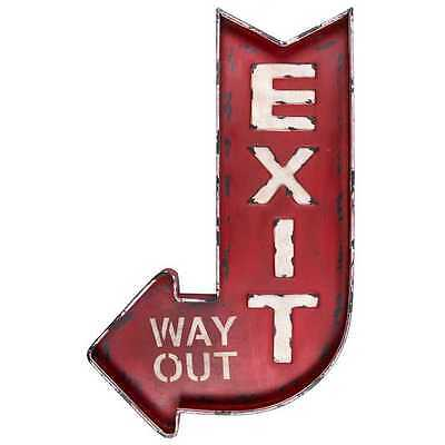Marquee Distressed Red Arrow  Block  3D Red Metal Exit Arrow Exit Way Out