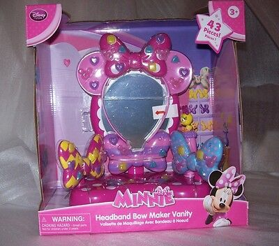 Disney Store Girls Minnie Mouse Headband Bow Maker Vanity 43 Pieces New In Box