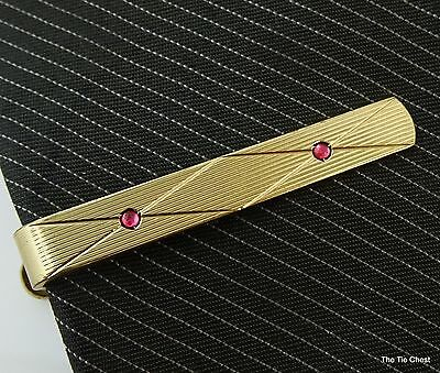 Vintage Tie Clip Bar Gold Tone with Small Pink Stones 1.5""