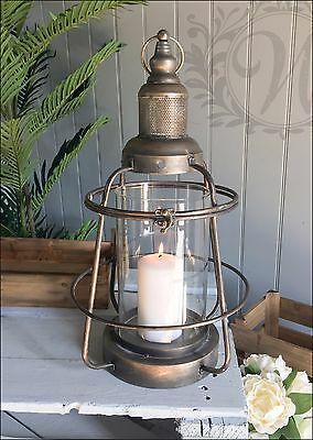 Vintage Lantern Holder Candle Style Garden Antique Industrial Metal Lamp Glass