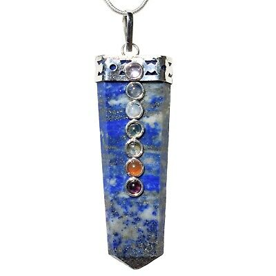"CHARGED 7 Chakra Lapis Lazuli Crystal Perfect Pendant™ + 20"" Chain WOW!"