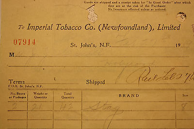 1919 Newfoundland Imperial Tobacco Co. St. John's -  Receipt