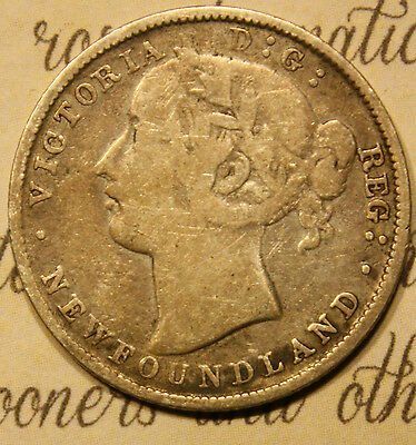 1865 NEWFOUNDLAND CANADA SILVER 20 CENTS COIN. HAS WEAR. lot nf342