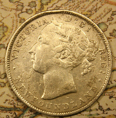 1899 NEWFOUNDLAND CANADA SILVER 20 CENT COIN. lot nf634 POLISHED WITH CORROSION