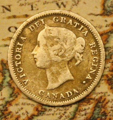1870 Canada Silver 5 Cent Coin -   Nf1062 - Has Wear.