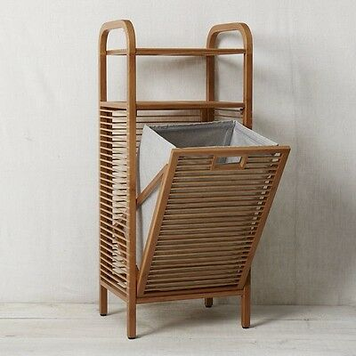 Bamboo Hamper with Shelves -95 CMS TALL-BEAUTIFUL MADE -BATHROOM TIDY UP UNIT