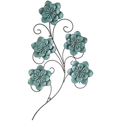 distressed turquoise metal flower wall decor country rustic home decor - Metal Flower Wall Decor