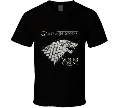 Game of Thrones Winter is Coming Stark Sigil Standard Black T-Shirt S to 5XL