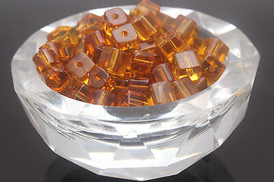 Crystal Charm Faceted Square Cube Cut Glass Loose Spacer Beads 4/6/8/12mm