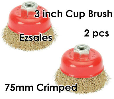 """2pcs a lots Cup Brush 3 """" Wire Crimped 5/8 """" -11 Arbor For Angle Grinder"""