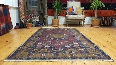 """Authentic 3'11""""×7'1"""" 1900-1930s Antique Lambs Wool Pile Tribal Rug Turkey"""
