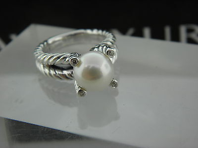 David Yurman Cable Pearl Ring with Diamonds Size 6.