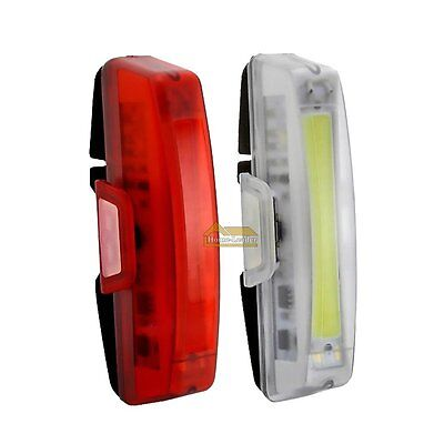 USB Rechargeable Bicycle Bike Front /Rear Tail Light Lamp LED Taillight 6 Modes