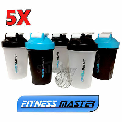 5X GYM Protein Supplement Drink Blender Mixer Shaker Shake Ball Bottle 500ml